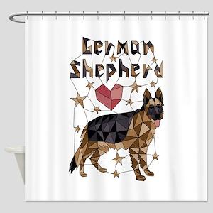 Geometric German Shepherd Shower Curtain