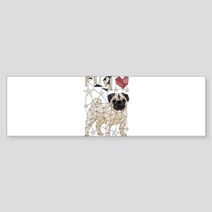 Geometric Pug Bumper Sticker