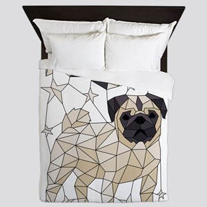 Geometric Pug Queen Duvet