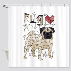 Geometric Pug Shower Curtain