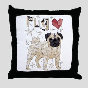 Geometric Pug Throw Pillow