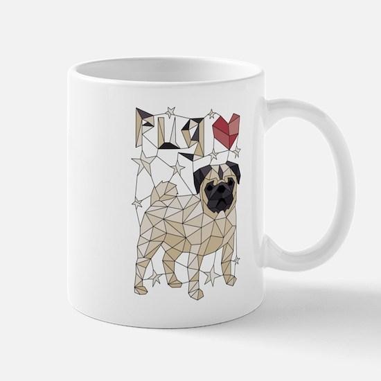 Geometric Pug Mugs