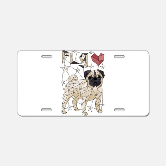 Geometric Pug Aluminum License Plate