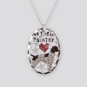 Geometric German Shorthaired P Necklace Oval Charm