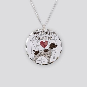 Geometric German Shorthaired Necklace Circle Charm
