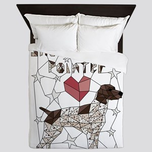 Geometric German Shorthaired Pointer Queen Duvet