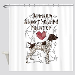 Geometric German Shorthaired Pointe Shower Curtain