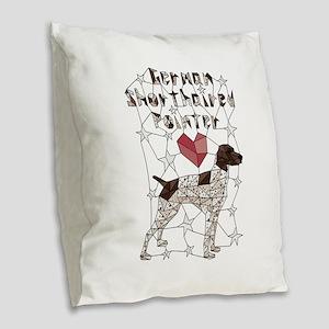 Geometric German Shorthaired P Burlap Throw Pillow