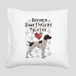 Geometric German Shorthaired Square Canvas Pillow