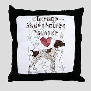 Geometric German Shorthaired Pointer Throw Pillow