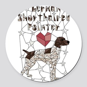 Geometric German Shorthaired Poin Round Car Magnet