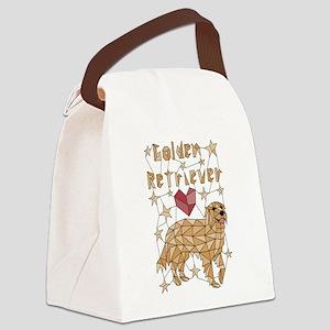 Geometric Golden Retriever Canvas Lunch Bag