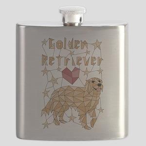 Geometric Golden Retriever Flask