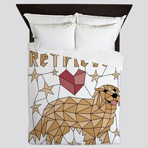 Geometric Golden Retriever Queen Duvet