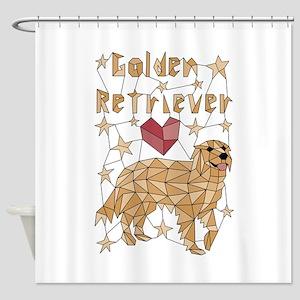 Geometric Golden Retriever Shower Curtain