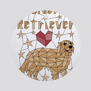 Geometric Golden Retriever Round Ornament