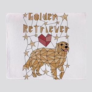 Geometric Golden Retriever Throw Blanket