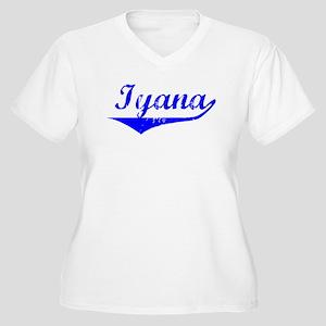 Iyana Vintage (Blue) Women's Plus Size V-Neck T-Sh