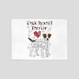 Geometric Jack Russell Terrier 5'x7'Area Rug