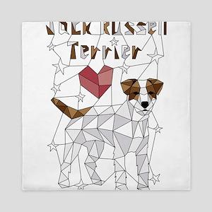 Geometric Jack Russell Terrier Queen Duvet