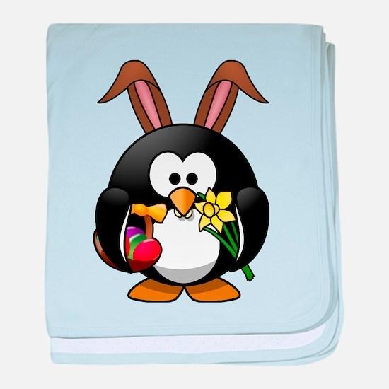 Happy Easter Penguin baby blanket