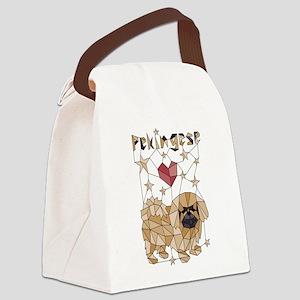 Geometric Pekingese Canvas Lunch Bag