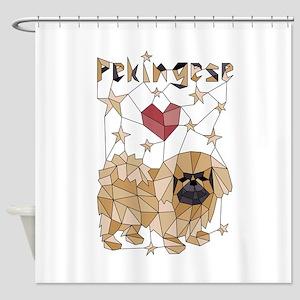 Geometric Pekingese Shower Curtain