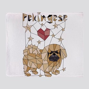 Geometric Pekingese Throw Blanket