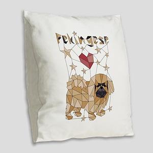 Geometric Pekingese Burlap Throw Pillow