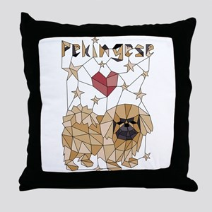 Geometric Pekingese Throw Pillow