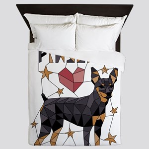 Geometric Miniature Pinscher Queen Duvet