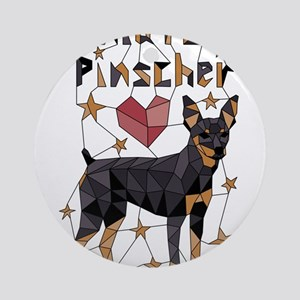 Geometric Miniature Pinscher Round Ornament