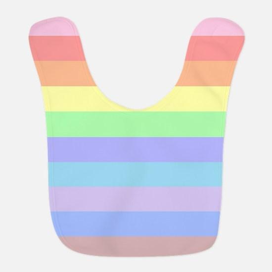 Pastel Rainbow Stripes Polyester Baby Bib