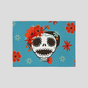 Cute Skull Wearing Flowers 5'x7'Area Rug