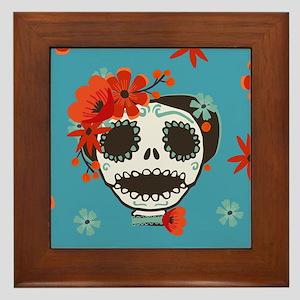 Cute Skull Wearing Flowers Framed Tile
