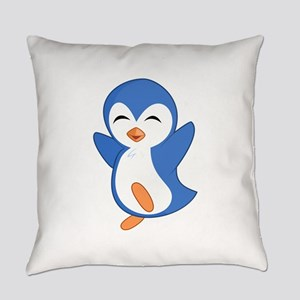 Happy Blue Baby Penguin Everyday Pillow