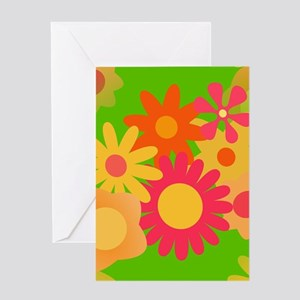 groovy mod floral Greeting Cards