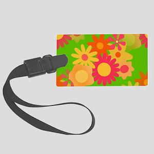 groovy mod floral Large Luggage Tag