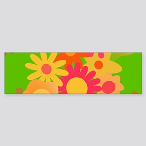 groovy mod floral Bumper Sticker