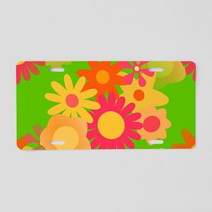 groovy mod floral Aluminum License Plate