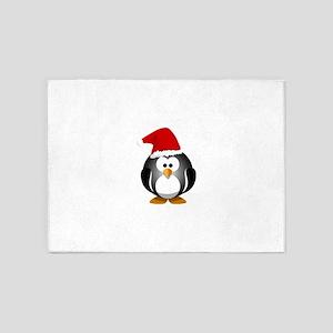 Santa Hat Penguin 5'x7'Area Rug