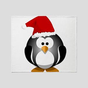 Santa Hat Penguin Throw Blanket
