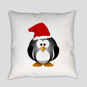 Santa Hat Penguin Everyday Pillow