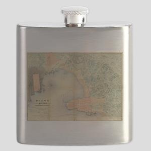 Vintage Map of Montevideo Uruguay (1867) Flask