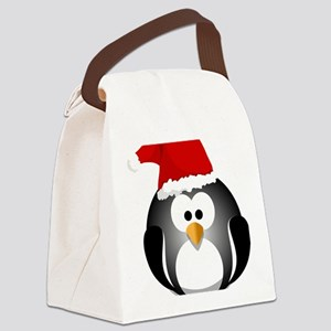 Santa Hat Penguin Canvas Lunch Bag