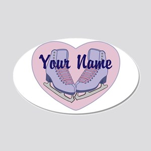 Personalized Ice Skating Heart Skates Wall Decal