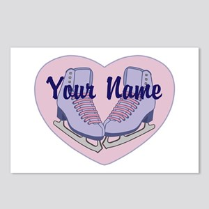 Personalized Ice Skating Heart Skates Postcards (P