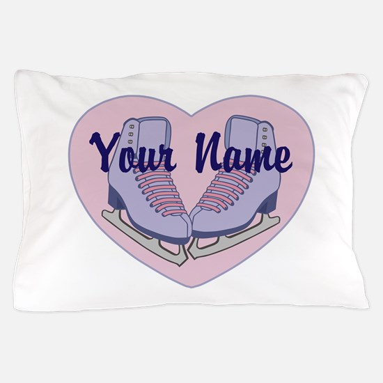 Personalized Ice Skating Heart Skates Pillow Case