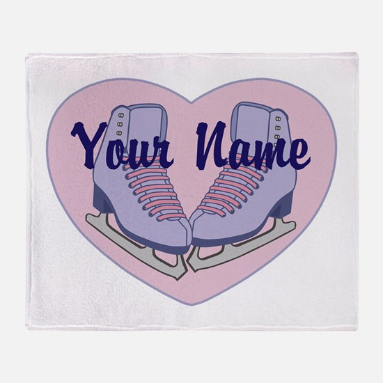 Personalized Ice Skating Heart Skates Throw Blanke