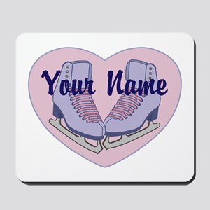 Personalized Ice Skating Heart Skates Mousepad